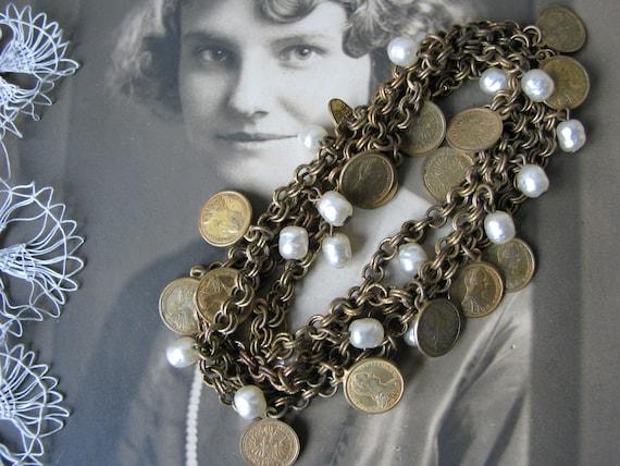 Miriam Haskell Coin Necklace, Vintage Miriam Haske