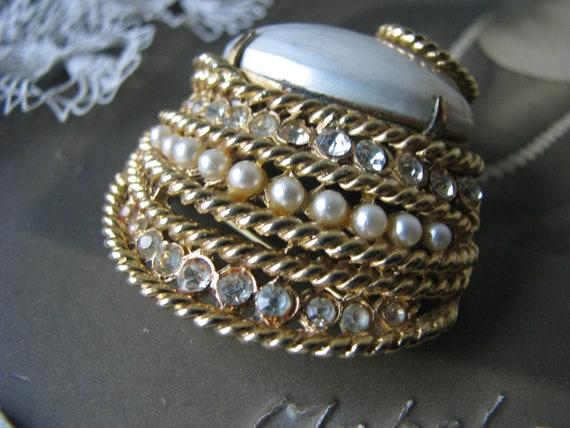 Vintage Corocraft Brooch, Vintage Pearl Brooch, V… - image 5