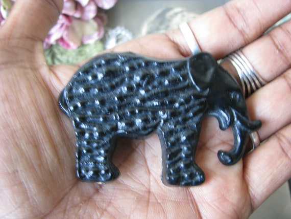 RARE 1930's Celluloid Elephant Pin, Black Celluloi