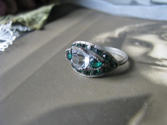 Antique Paste Ring, Art Deco Paste Ring, Green Pas