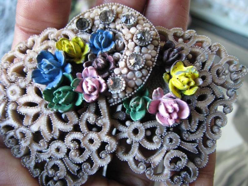 Rhinestone Celluloid Brooch 1930/'s Celluloid Brooch Gifts For Brides Bridal Brooch Wedding Brooch Rare Celluloid Brooch