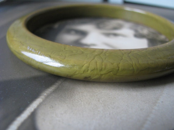 Art Deco Celluloid Bracelet, Faux Jade Bracelet, V