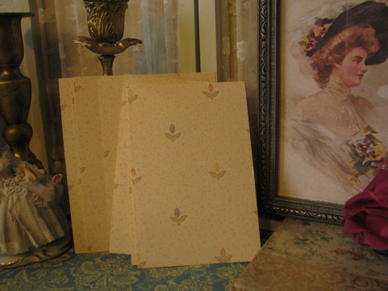 8 Vintage Speckled Cream Pink Blue Flower Wall Paper Samples Junk Journal Photo Mat Mixed Media Paper Craft Supplies Art Supplies
