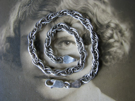 Vintage Rope Bracelet, Silver Rope Chain Bracelet, Italian Silver Bracelet, Rope Chain Link, Unisex Silver Bracelet