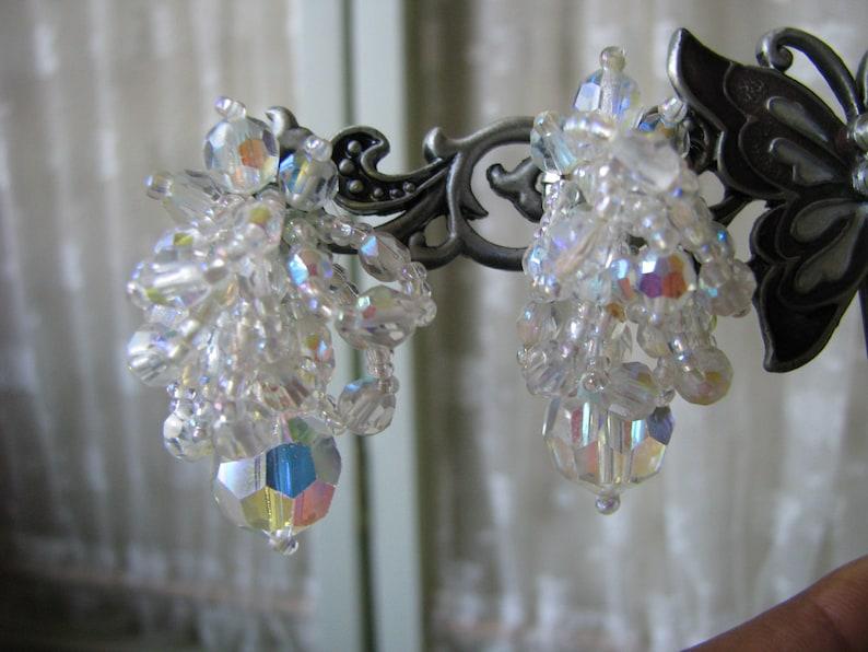 Crystal Beaded Earrings Bridal Earrings Wedding Jewelry Wedding Earrings Vintage Crystal Beaded Earrings Crystal Bead Cluster Earrings