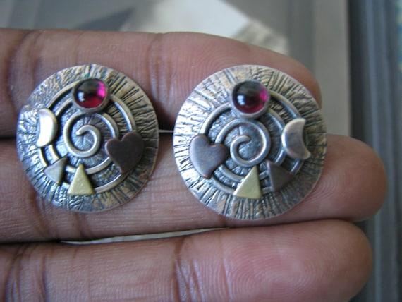 Spiral Art Earrings, Garnet Spiral Earrings, Silve