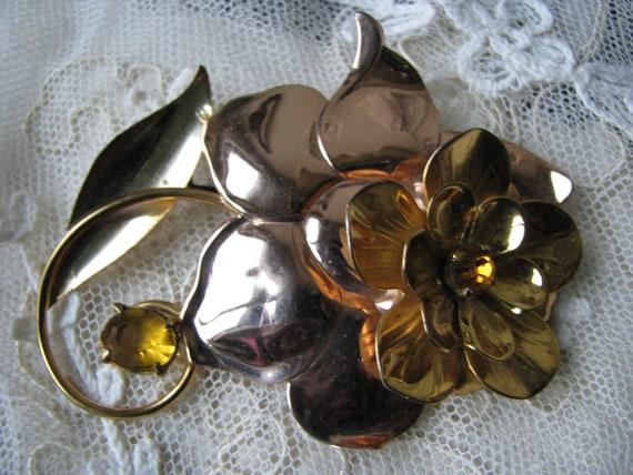 Large Flower Brooch, Vintage Flower Brooch, Sterli