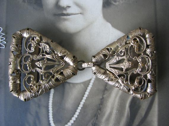 Antique Belt buckle, Victorian Belt Buckle, Filigr