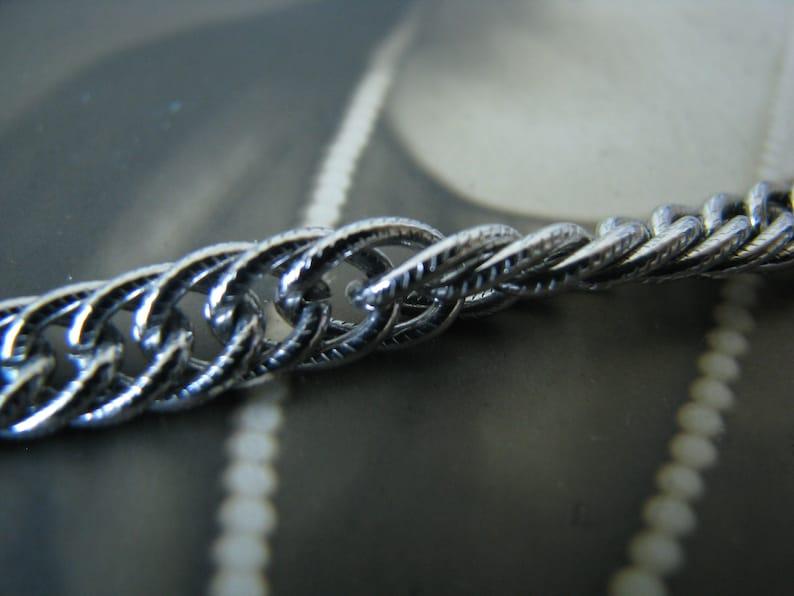 Vintage Silver Curb Link Chain Crown Trifari Necklace Vintage Silver Tone Crown Trifari Textured Long Chain Necklace