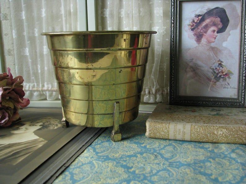 Art Deco Brass Planter Footed Brass Planter Vintage Brass Planter 1930/'s Brass Planter