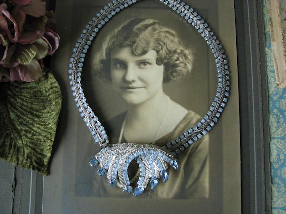 Vintage Hobe Blue Rhinestone Necklace Brooch, Hobe