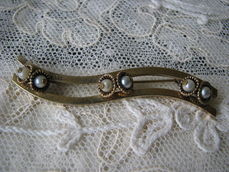 Gold Filled Brooch Antique Pearl Brooch Wedding Pin Bridal Brooch Antique Gold Bar Pin Wedding Brooch Victorian Pearl Brooch