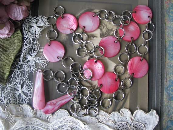 Vintage Pink Shell Belt, MOD Mother Of Pearl Belt,