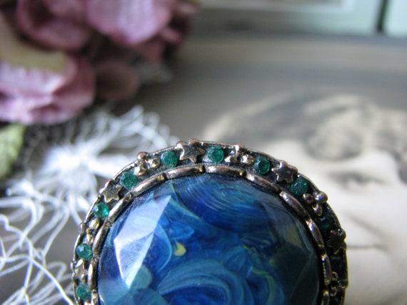 Vintage Copper Ring, Vintage Rhinestone Ring, Vin… - image 3