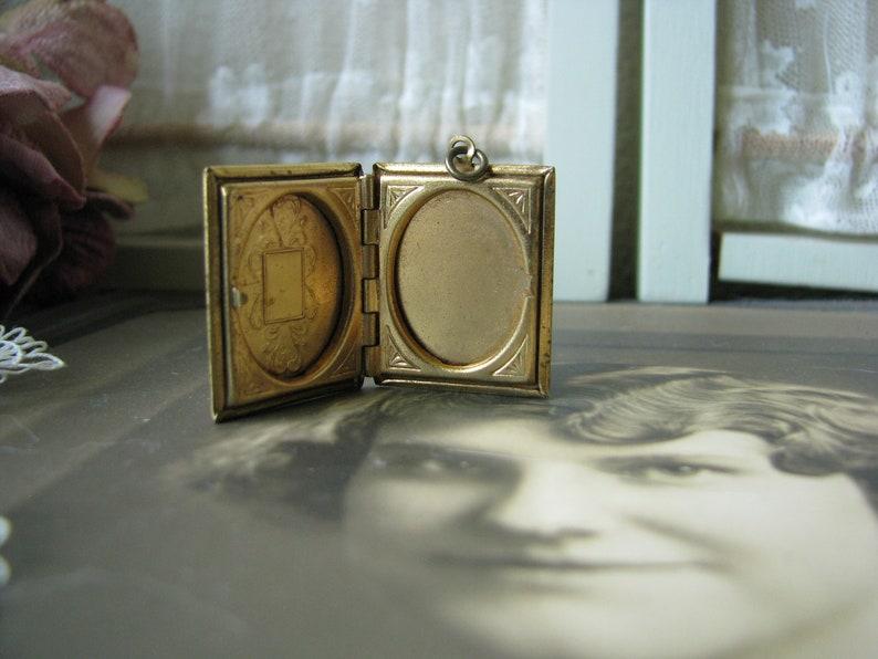 Wedding Locket Gold Plated Book Locket Vintage Wedding Jewelry Vintage Gold Book Locket 1940/'s Book Locket