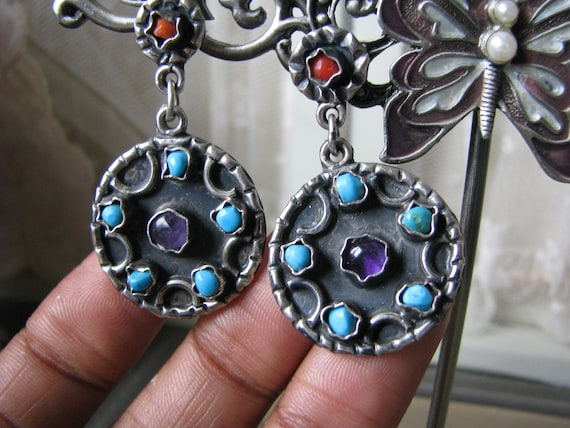 Vintage Mexican Silver Earrings, Vintage Turquoise