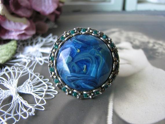 Vintage Copper Ring, Vintage Rhinestone Ring, Vint