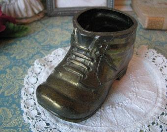 Vintage Brass Shoe Planter
