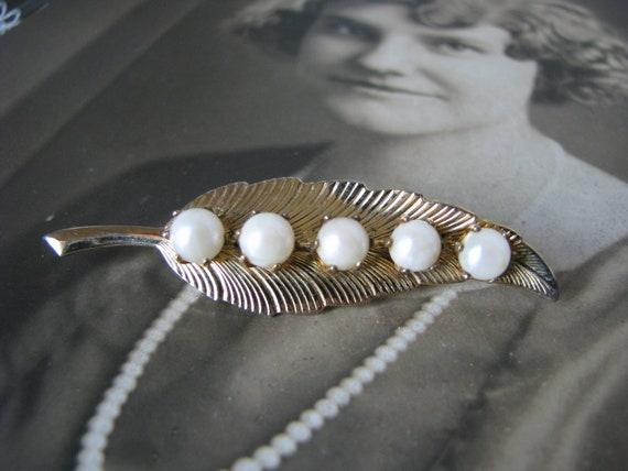 Vintage Pearl Brooch, Cultured Pearl Brooch, Vint… - image 3