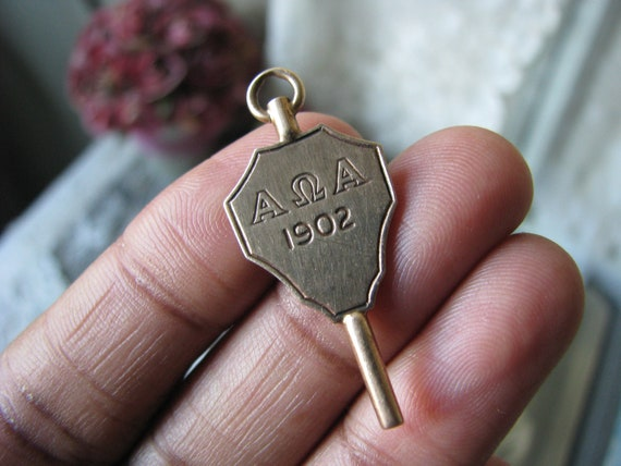 Antique Gold Fraternity Fob, Alpha Kappa Alpha Fob