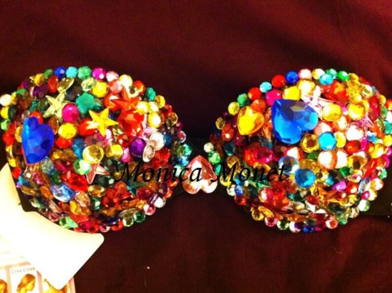 28c51fd777d81 Gorgeous RAINBOW Sexy Rave Bra Costume Burlesque Sequin