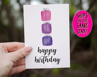 SAME DAY SHIPPING Watercolor Birthday Greeting Card Happy For Her Gift Presents Gifts Minimalist