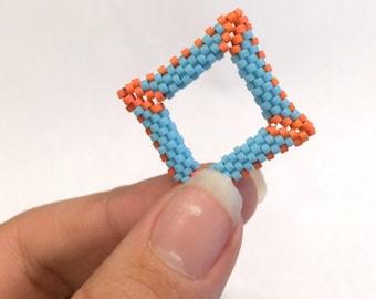 Tutorial 3D Peyote Square, Open Peyote Square, Peyote Stitch, Clasp, Earrings, Pendant, Beginner