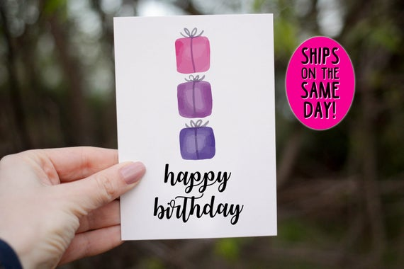 SAME DAY SHIPPING Watercolor Birthday Greeting Card Happy