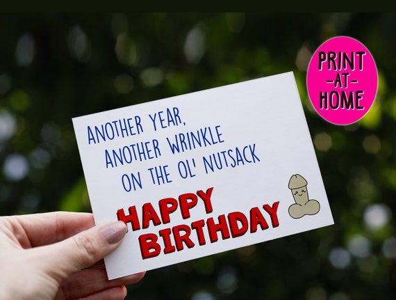 Print At Home Inappropriate Card Birthday Card Happy Etsy