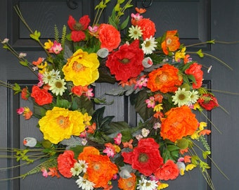 spring wreath summer wreaths for front door wreaths poppy decorations outdoor front door wreaths