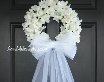Wedding Wreath Spring Wreath Front Door Wreaths Outdoors White Ivory Veil  Wreaths Country