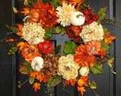 fall wreaths with pumpkins wreaths for front door wreaths outdoors and garden decorations white roses wreaths country french weddings