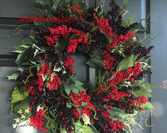 christmas wreaths for front door wreaths decor holiday handmade fall wreaths red berry wreath