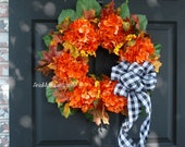 Fall wreath, Fall wreaths for front door, front door wreaths, orange brown berry wreaths, Thanksgiving wreaths, outdoor closing wreaths,