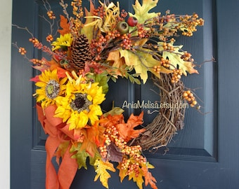 Fall wreaths, Fall wreaths for front door wreaths sunflowers outdoor country decorations welcome wedding luxury closing gifts for realtors
