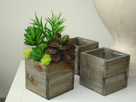 Wood Box Wood Boxes Square Wood Vase Succulents Wedding Flower Etsy