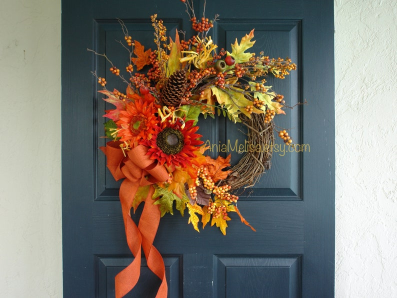 Thanksgiving wreath Fall wreath Fall wreaths for front door image 0