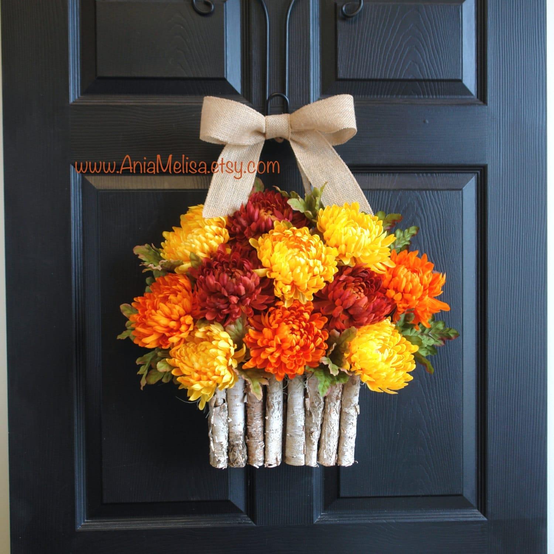 Thanksgiving Front Door: Fall Wreath Thanksgiving Wreaths For Front Door Orange