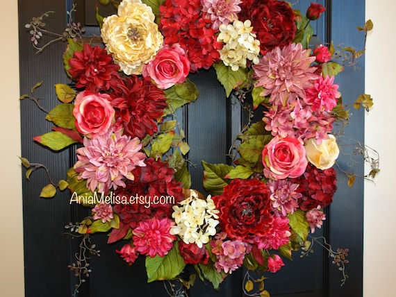 Spring Wreaths For Front Door Wreaths Mothers Day Red Etsy