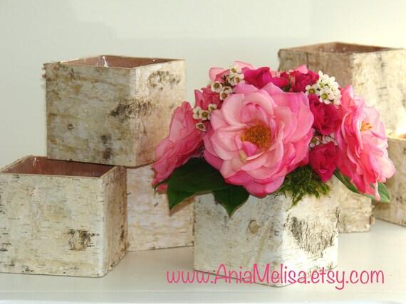 Birch Bark Vases Wood Boxes Floral Arrangement Square Flower Etsy
