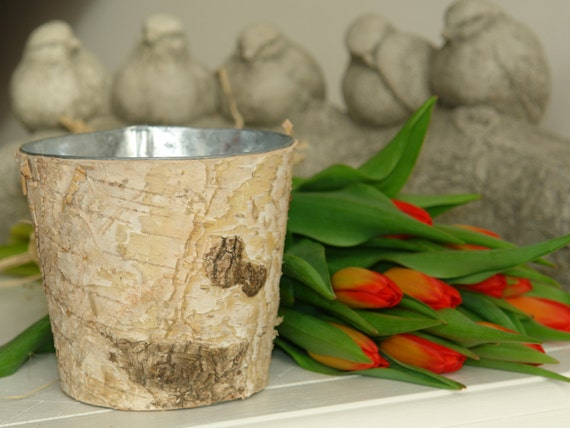 birch bark vases with zinc liner, wedding flowers pot, rustic chic on zinc desk, zinc basket, zinc patina, zinc dog, zinc metal, zinc car, zinc chest, zinc table,