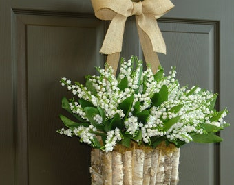 spring wreath lily of the valley wreath front door wreaths decorations wall decor wedding wreath birch bark vase Mother's day gifts