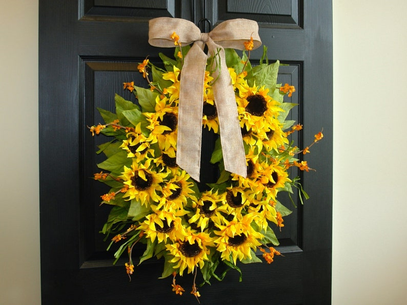 Wreaths Summer Wreaths For Front Door Wreaths Sunflowers Etsy
