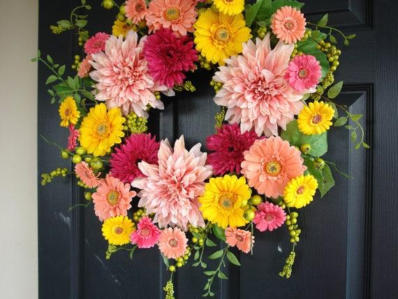 Spring Wreath Spring Wreaths For Front Door Wreaths Summer Etsy