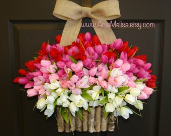 spring wreath summer wreath Mother's Day gift front door wreaths decorations red pink tulips spring wreath