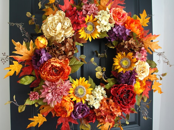 Thanksgiving Wreaths Fall Wreaths For Front Door Wreaths | Etsy