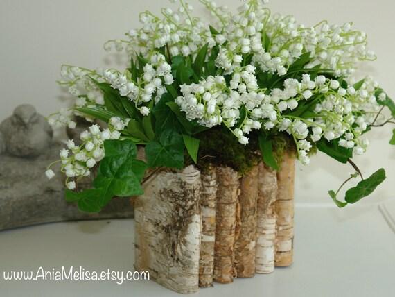 Natural Birch Bark Wood Vases Wedding Flower Pot Bridal Etsy