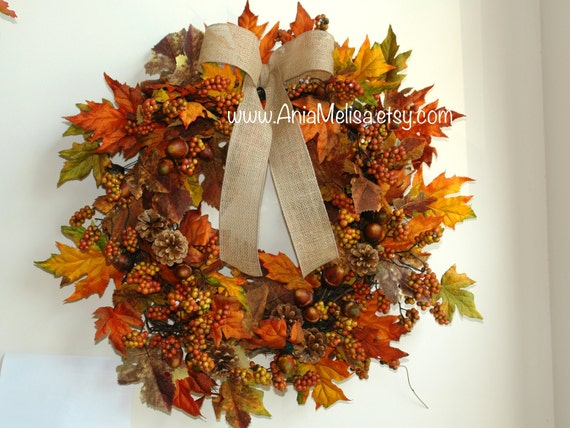 Wreaths Fall Wreaths For Front Door Wreaths Orange Brown Berry Etsy