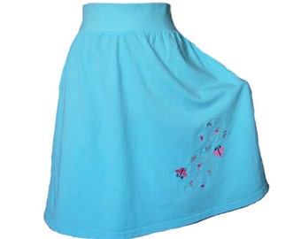 Turquoise Jersey Knit Skirt Embroidery Butterfly