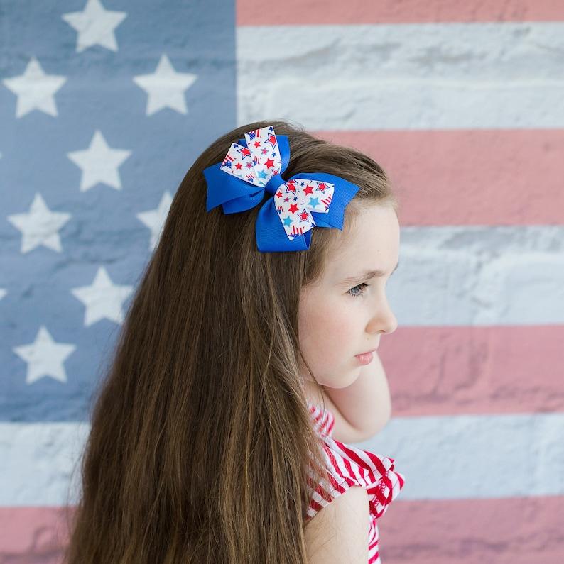 4th of July Hair Bow  Girls Hair Bow  USA Hair Bow  4th of image 0